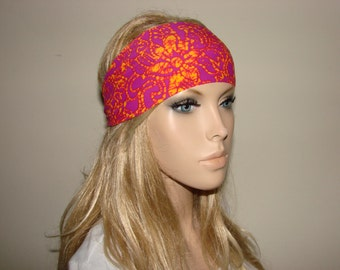 floral yoga headband - orange fuschia turban headband - hair band - head scarf Woman boho head wrap