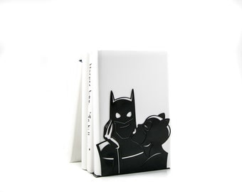 A pair of Decorative  bookends // Batman and Cat woman Love // DC comics fans // FREE SHIPPING // perfect housewarming gift //