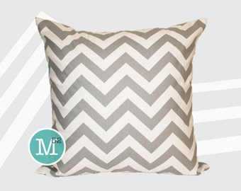 Grey White Chevron Pillow Cover - 12 x 12 - Zipper Closure
