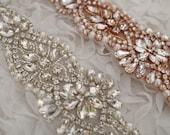 rose gold rhinestone sash applique, rose gold crystal applique for wedding sash, crystal sash belt 2016 new arrival