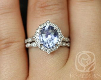 Lana 3.18cts 14kt White Gold Oval Icy Lilac Sapphire and Diamond Halo Classic Wedding Set