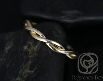 Rosados Box PLAIN Dusty 14kt Yellow Gold Weaving Braid HALFWAY Eternity Band