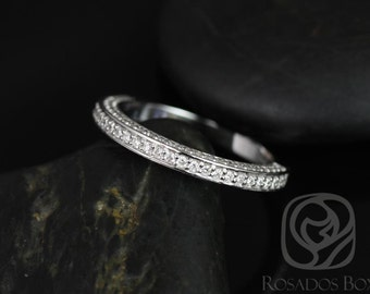 14kt Matching Band to Ellen 8mm Micro Pave Diamonds HALFWAY Eternity Band (Other Metals Available)