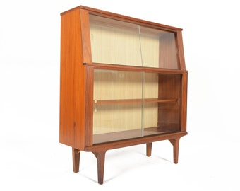Mid Century Modern Narrow Bookcase Bar in Teak