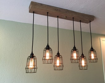 "Reclaimed Oak Barn Beam Linear Wood Chandelier - 6 Cage Ceiling Fixture with 35"" Wood Mount built from Reclaimed Barn Beams"