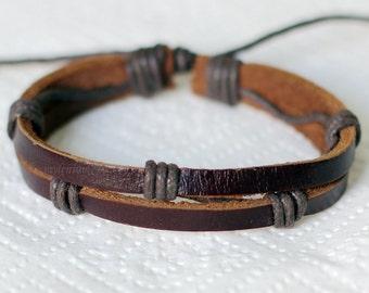 825 Men's brown leather bracelet Woven bracelet Leather bands bracelet Men bracelet Women bracelet Leather jewelry Gift For men and women