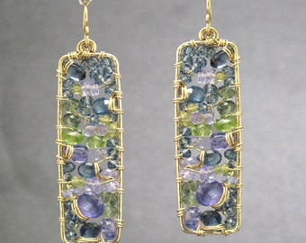 Amethyst, blue topaz, tanzanite, peridot hammered drop earrings Bohemian 181