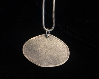 Sterling silver leaf impression necklace