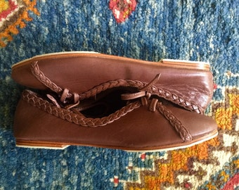Sale. Sz. 6. SASHA. Leather ballet flats / leather loafers / lace up ballet flats / brown leather shoes / womens shoes /womens flat shoes.