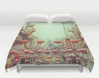 Duvet Cover Red Chinese Lanterns Custom Bedding, San Francisco Chinatown Photo Printed Fabric Pillow Sham Custom Bedding Decor for Bedroom
