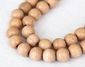 Rosewood Beads, Beige, 10mm Round - 15.5 inch Strand - eW687-10