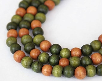 Dyed Wood Beads, Green Mix, 8mm Round - 15.5 inch Strand - eW860-8