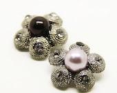 2 pcs 0.91 inch High-grade Fashion Gun Black+Purple/White/Black Pearl Metal Shank Buttons for Mink fur Coats