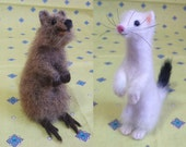 Needle Felted Sulptures Ermine and Quokka