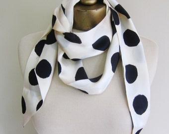 Black white polka dot scarf, long silk scarf, ivory silk scarf, tie end scarf, extra long scarf, 1970s scarves, silk scarves,