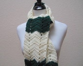 Scarf Ripple Chevron Green and Cream Striped Neck Warmer Hand Crocheted