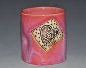 Pink ceramic tumbler cup, squeezed cup with 2 hearts textures and romantic pink glaze, Fun to Hold Cups.