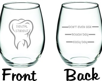 Etched Dental Student Glass  FREE Personalization