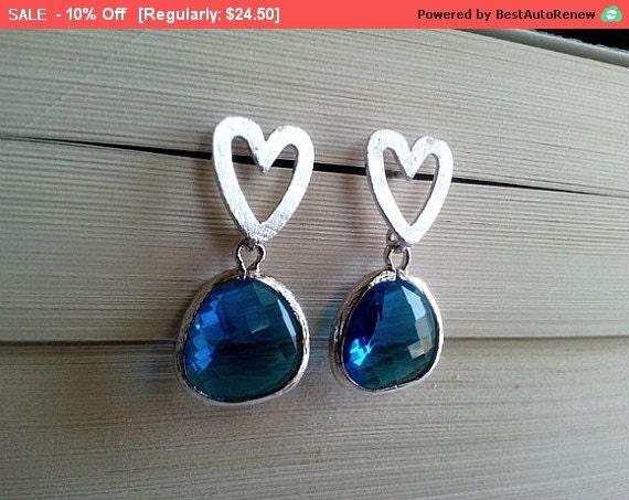 HEART Stud Earrings - Dangle Earrings,bridesmaid gifts,Gemstone, Wedding Earrings,Valentine Earrings