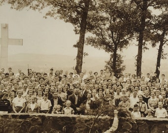 Camp Meeting Panoramic Photo Vintage Photograph 1937