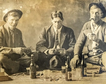 Vintage RPPC: Bad Boys Buddies with Vices Real Photo Postcard