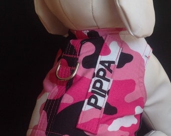Pink Camo Dog Harness with your Dogs Name Tab - Size XXS, XS, S, M
