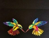 Custom Shop Left and right GST-9 Dichroic Stained Glass Hummingbird Bevel Clusters