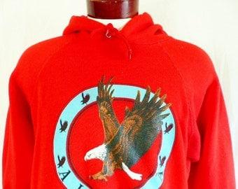 vintage 80's Alaska red fleece hoodie graphic sweatshirt tourist travel souvenir pullover jumper pastel turquoise blue circle american eagle