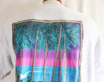 vintage 80's 90's Local Motion Hawaii heather grey graphic t-shirt Palm Tree Ocean Beach neon pink gradient purple teal back front logo XL