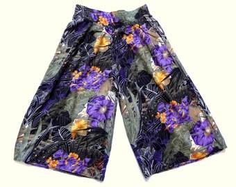 Vintage 80's Wide Leg Floral Print Culottes UK 14