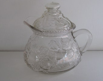 COVERED GLASS SYRUP Pitcher/Clear Decorated Glass Handled Pitcher/Serving Creamer/Vintage Kitchenware/Vintage Tablewar/Milk Pitcher/Creamers