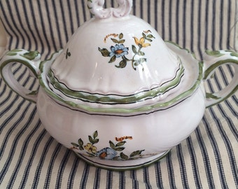 Vintage French Faience sugar bowl serving lid white with flowers marked