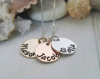 Tri tone personalized Initial necklace, Custom name Necklace, 3 initial necklace, rose gold, 14kt Gold Filled, and sterling necklace, gift