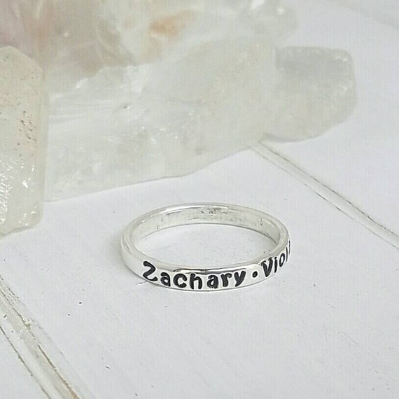 Name Ring, 3mm, Sterling Silver, Stackable Ring, Wedding Band, Stacking Rings, Custom Made, Hand Stamped, Personalized Mommy Ring, Mothers