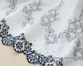 Embroidery Flower Fabric,  Blue And White Porcelain Floral Embroidered Cotton Scalloped Borders- Fabric by Half Yard