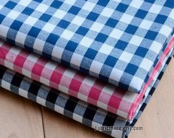 "White & Blue Red Black Plaid Fabric/ Yarn Dye Plaid Cotton Fabric For Clothing Shirts- Fabric 1/2 yard 18""X56"""