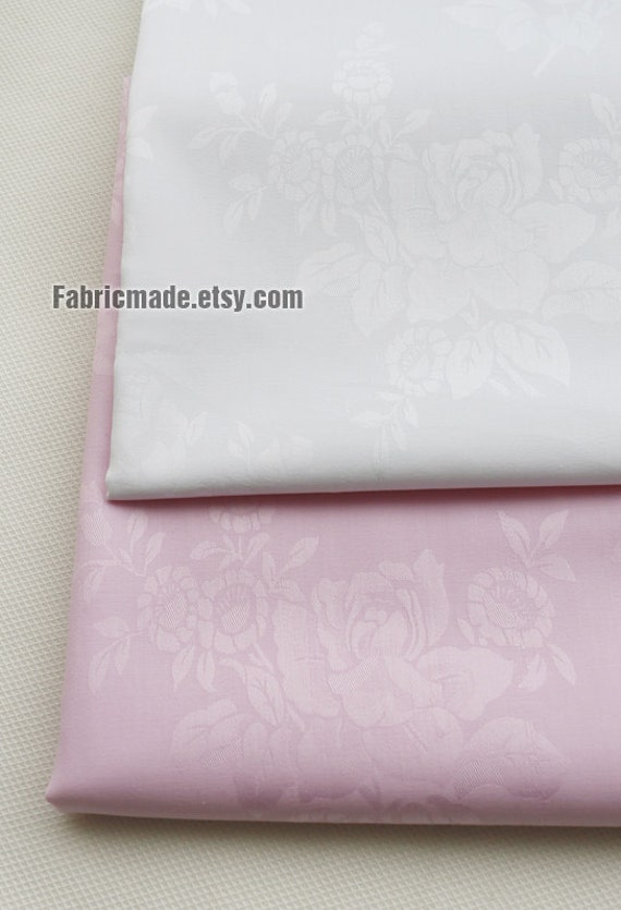 "101""/ 148cm Wide Light Pink White Cotton Fabric, Jacquard Flower Cotton, - 1/2 Yard"