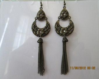 Bronze Tone Dangle Chain Earrings with Clear Rhinestones