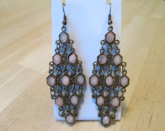Dark Gold Tone Layered Chandelier Earrings with Pink Beads