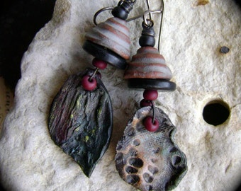 Decaying Leaves, asymmetrical assemblage earrings with artisan ceramic leaves, asymmetrical earrings, unique rustic rocker, AnvilArtifacts