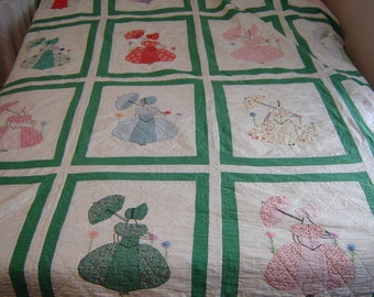 Vintage plantation lady quilt 68x80 inches double bed or twin bed appliqued and embroidered squares shabby chic quilt
