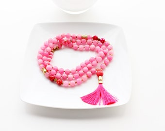 Pink Jade Faceted Gemstone Beaded Silk Tassel Necklace