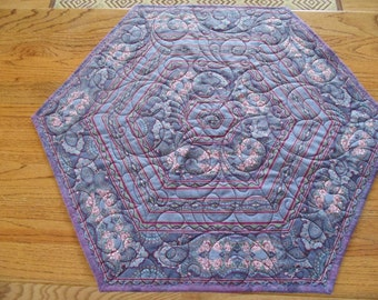 Large Hexagonal Blue and Pink Rose and Paisley Table Topper