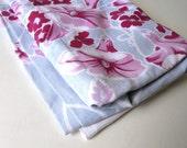 "Mid Century cotton Tablecloth, Vintage Kitchen Linen, Mother's Day, Morning Glories, 64"" x 69"", Fuchsia, blue, Retro collectible, gift idea"
