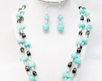 2 Strand Chunky Mint Polished Mineral Beaded Necklace/Bracelet/Earrings Set