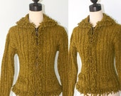 Vintage Wool Cardigan Sweater . Green Boho Hippie Fitted Sweater with Zipper . Cardy Jumper . Made in Ecuador . Size Small
