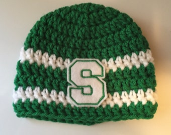 Michigan State MSU newborn Hat Beanie Spartan Green and White Baby Photo Prop S with stripes