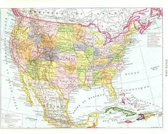 Vintage Us Map Etsy - Vintage us map
