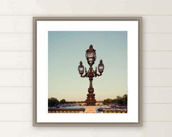 Paris lamp photo, River Seine photography, Paris, Lamppost, Parisian, Oversized large wall art, travel photograph, gift under 40, Christmas,