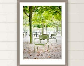 Paris Autumn Photos, Luxembourg Garden, Mint Green Chairs, trees, Fall, leaves, oversized large wall art, Paris travel print, Paris wall art